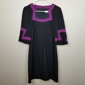 Trina Turk Black/Purple Sheath Dress size 4